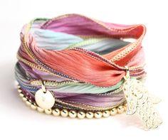 Silk charm wrap bracelet. Beautiful colors!