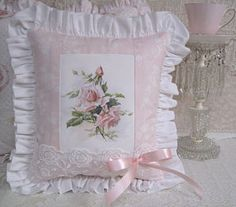 Pale Pink Rose Pillow  Would really love without the ribbon bow.