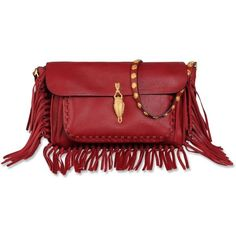 Valentino Shoulder bag (18.295 DKK) ❤ liked on Polyvore featuring bags, handbags, shoulder bags, maroon, valentino crossbody, leather cross body purse, leather crossbody, red crossbody purse and leather fringe purse