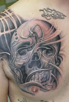 skull tattoo‬, ‪black and grey‬.... ekivolos tattoo‬