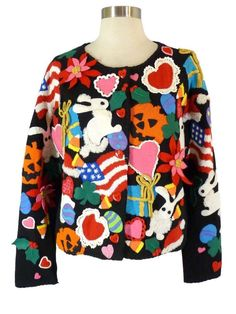 Michael Simon ALL HOLIDAYS Sweater L Rare Applique Cardigan Xmas 4th Easter 1998   Clothing, Shoes & Accessories, Women's Clothing, Sweaters   eBay!