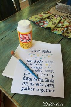 Summer porch printable craft with mod podge