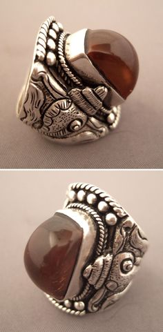 Nepal | Silver and 'burmite' amber ring | Sold