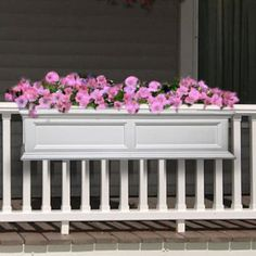 planters on the porch railing. Deck Railing Planters, Front Porch Railings, Balcony Planters, Window Planter Boxes, Porch Planter, Front Porches, Indoor Balcony, Banisters, Wood Planters