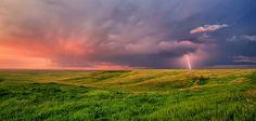 South Dakota sunset, lightening, shelf cloud.  Wow.