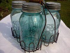 Old Canning Jars with Rack old cans Vintage Mason Jars, Small Mason Jars, Blue Mason Jars, Vintage Bottles, Canning Rack, Ball Canning Jars, Ball Jars, Altered Bottles, Bottles And Jars