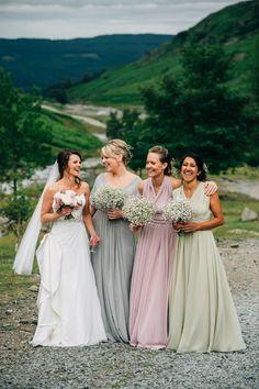Mis-match Pastel Bridesmaid Dresses | http://www.rockmywedding.co.uk/kim-ant/ | Image By Kerry Diamond Photography