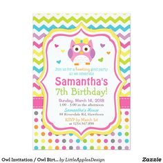 Owl Invitation / Owl Birthday Invitation / Invite This listing is for Owl invitation, great for Owl Birthday party theme for your little ones. I hope you enjoy them! If you want me to customize it for you, please visit my etsy shop: http://www.etsy.com/shop/littleapplesdesign Many thanks!