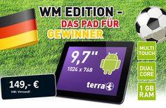 +++ AKTION zur Fußball-Weltmeisterschaft! +++  TERRA MOBILE PAD 1002 Android-Tablet mit 9,7'' Touch-Display, 1,5 GHz Dual-Core-Prozessor, 1 GB RAM, SD-Steckplatz, Android 4.2  für unglaublich günstige 149,- €!  Und das Beste: Die Lieferung erfolgt versandkostenfrei innerhalb Deutschlands!  Weitere Infos und Bestellung telefonisch unter 09161 / 8828 133  Angebot gültig solange der Vorrat reicht!