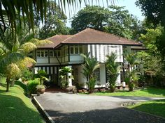 "British colonial ""black and white"" bungalow, Singapore."