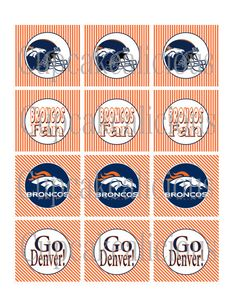 Denver Broncos Cupcake Toppers on Etsy, $5.00