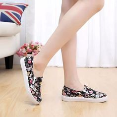 2016 floral shoes woman flat casual shoes Fashion Canvas shoes woman platform floral print footwear femme zapatillas