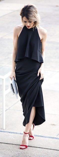 Tiered Black Maxi & Red Sandals.