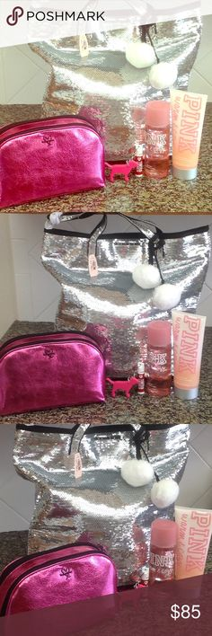 VS Sequin Tote & Hot Pink Accessories NWT, Victoria's Secret Silver Sequin Large Tote with Hot Pink Cosmetic Bag & 1 Warm & Cozy body mist 8.4 oz, 1 Warm & Cozy Wash and scrub 10 oz. & 1 Pink dog tinted lip balm keychain. Great bundle! PINK Victoria's Secret Bags Totes