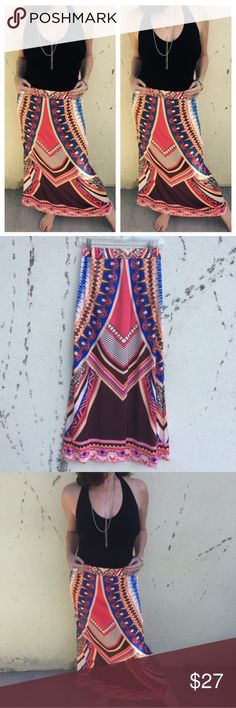 """NEW! Festival MAXI SKIRT boho print M/L stretch New! Bold and beautiful MAXI SKIRT with colorful print. Elastic waist fits sizes Small, medium, and large! Waist flat across measures 13"""" to 19"""". Length is 38"""". Make a statement is this chic boho piece! Poly + spandex. (ju11) Skirts Maxi"""