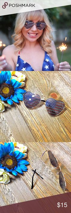 🇺🇸Lady Liberty🇺🇸 Oversized Heart Sunnies ⭐️TOP SELLER🔹NEXT DAY SHIP⭐️ Enjoy your 4th of July in style with these American flag-printed lenses inside an adorable metal heart shaped frame. Comes with a soft felt black case.   100% Protection UVA/UVB Rays Full gold Metal Heart Shape Frame Acrylic American Flag Print Lens  Lens Height 55mm Lens Width 60mm Bridge 20 mm Frame Total 145 mm unbranded Accessories Sunglasses