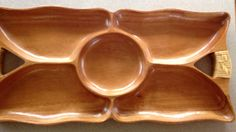 Monkey Pod Wood 5 Sectioned Tray with Rattan Wrapped Handles