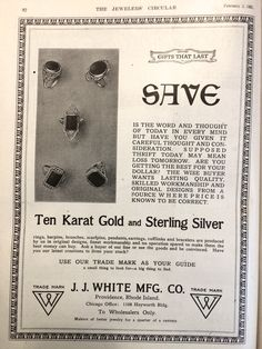 """""""Use our trade mark as your guide. A small thing to look for -- a big thing to find.""""J.J. White Mfg Co. 1921 Advertisement."""