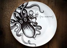 Image result for steampunk pirate dinnerware Kraken rum dinnerplates