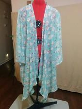 BUY IT NOW! NEW Open Shawl Front Chiffon Jacket Olrain Size L Cherry Blossoms on Mint  | eBay