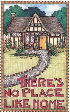 There's No Place Like Home Cobble Stone Walkway Magnet with Mary Engelbreit Art