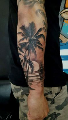 a9b4ab7db Half sleeve tattoos for men · Palm, beach, sun, Palm Tattoos, Forearm  Tattoos, Ocean Tattoos, Beach