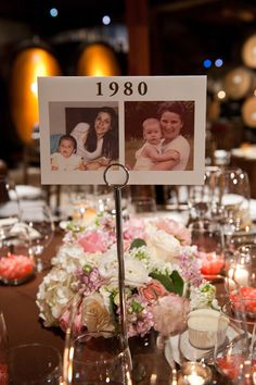 Table numbers as years with pictures of the couple that year.