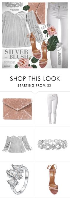"""Silver + blush velvet"" by vn1ta ❤ liked on Polyvore featuring Rebecca Minkoff, rag & bone and Aquazzura"