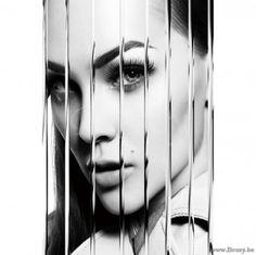 XX-PR Interiors Glass Art Glazen paneel glaspaneel Lady dame-vrouw XII 120x80 in zwart wit