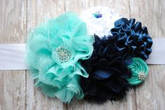 Minty aqua, navy and white Maternity Sash for photo prop or baby shower