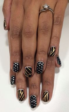 A new lady for charity nails who wanted BLING :D we started with Great Gatsby nails and decided to alternate with silver polka dots - she was so excited it was infectious! :)