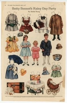 75.2937: Betty Bonnet's Rainy Day Party   paper doll   Paper Dolls   Dolls   Online Collections   The Strong