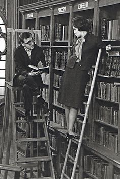 Woody Allen and Romy Schneider in the library scene from What's New, Pussycat? 1965