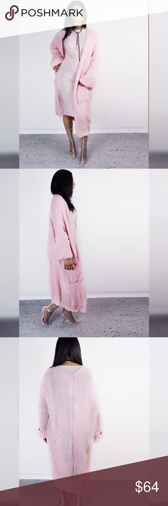 Oversized Pink Knit Cardigan Our Gusto Long cardigan features 2 front patch pockets,long sleeves that can be folded into 3/4 sleeves and a cross rib knit pattern on either side.  Content + Care: - 100% acrylic - Machine wash cold - Imported. Blue District  Sweaters Cardigans