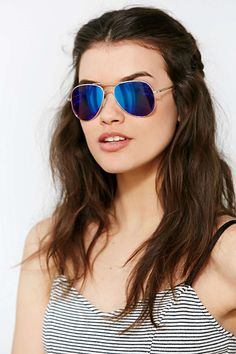 Shop Classic Aviator Sunglasses at Urban Outfitters today. We carry all the latest styles, colors and brands for you to choose from right here. Blue Aviator Sunglasses, Ray Ban Sunglasses, Sunglasses Women, Sunglasses Accessories, Mirrored Aviators, Mirrored Sunglasses, Urban Outfitters Sunglasses, Blue Aviators, Summer Essentials