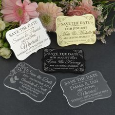 Engraved Acrylic Wedding 'Save the Date' Cards