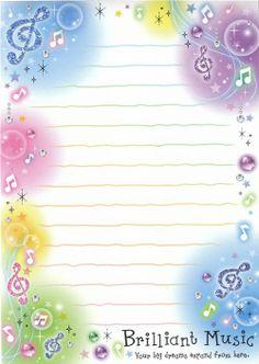 """""""Brilliant Music"""" kawaii memo paper (500×704)"""