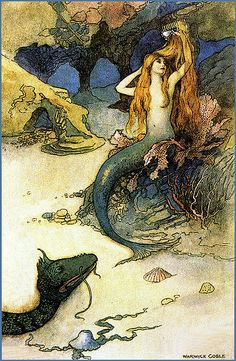 Vintage Mermaid Illustration--Warwick Goble--Sea Serpent    From a Green Tiger Press postcard, circa 1970s
