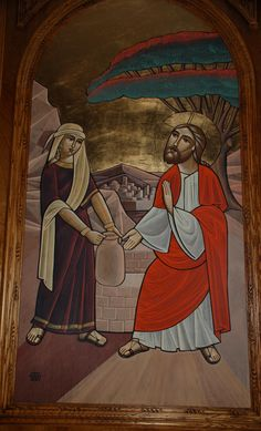 Icon of Christ and the Samaritan woman by Dr Isaac Fanous