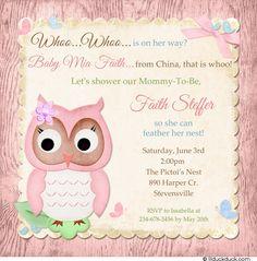 Butterfly Owl Baby Shower Invitation - Pastel Card Whoo Fresh Polka Dot Custom