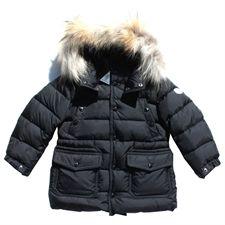 Moncler Boys Seneca Down Fur Trim Coat