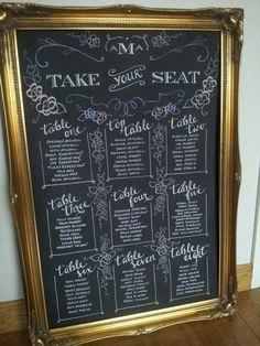 chalk board table planner via @Georgina ♥ ♥ at Ruby Weddings