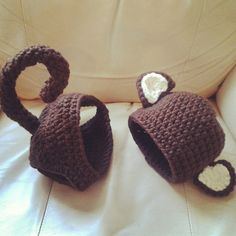 Crocheted Baby Monkey photo prop costume with Hat and matching bottom with Tale