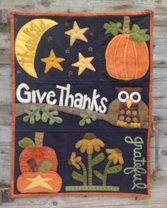 "Wool Applique wall hanging PATTERN "" Owl'ways Thankful """