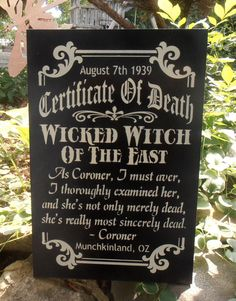Certificate of Death Wicked Witch of the East Oz by Nesedecor, $28.00