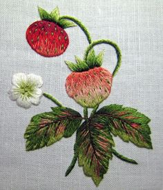 """Strawberries."" An example of shaded, long and short stitch embroidery. So beautiful."