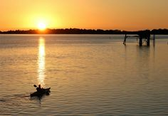 Kayaking at sunset on the Gulf of Mexico, Cedar Key, FL