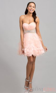 Awesome short peach prom dresses 2014