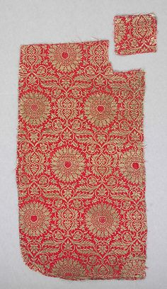 Textile Date: 14th century Geography: Made in Lucca, Italy Culture: Italian Medium: Silk, metal thread Accession Number: 46.156.29a, b