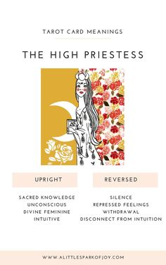 High Priestess Tarot Meaning - Powerful yet intriguing, the High Priestess tarot card represents sexuality, mystery, and general h - Major Arcana Cards, Tarot Major Arcana, Kitchen Witch, The Emperor Tarot, Giving Up On Life, Rider Waite Tarot, Tarot Card Meanings, Watercolor Paintings Abstract, Tarot Spreads
